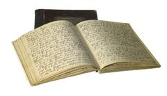 Yellowed handwritten books Stock Photos