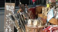 Stock Video Footage of Souvenir shop in Japanese tourist village, items for sale, artefacts