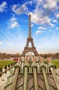 paris. beautiful view of eiffel tower on a cold december morning - stock photo
