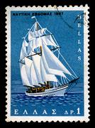 Sailboat vintage postage stamp Stock Photos