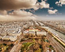 wonderful aerial view of paris from the top of eiffel tower - winter season - stock photo