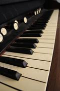 Antique organ keyboard Stock Photos