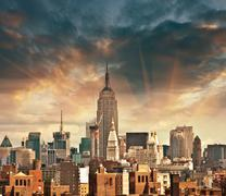 Wonderful view of manhattan skyscrapers with beautiful sky colors - new york Stock Photos