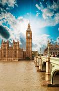 houses of parliament, westminster palace - london gothic architecture - stock photo