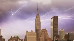 Wonderful view of manhattan skyscrapers with beautiful storm colors - new yor Stock Photos