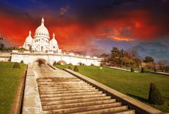 wonderful view of sacred heart cathedral and steep stairs - paris - stock photo