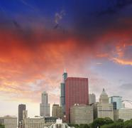chicago, illinois. wonderful sky colors over city skyscrapers - stock photo