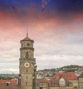wonderful sky colors above stuttgart skyline, germany - stock photo