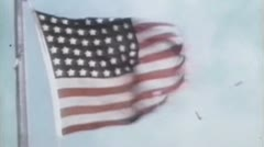World War 2 - Damaged US flag Stock Footage