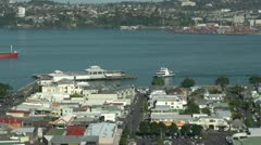 Auckland ferry at Devonport wharf - stock footage