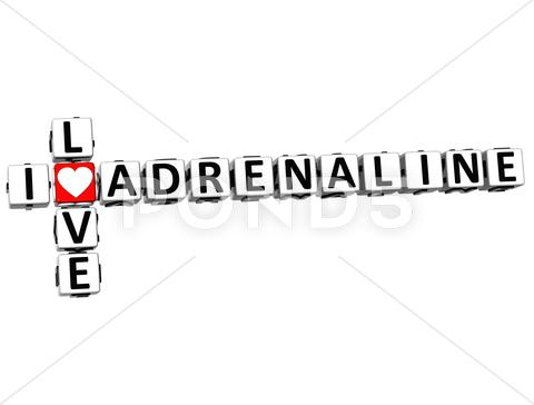 Stock Illustration of 3d  i love adrenaline  crossword