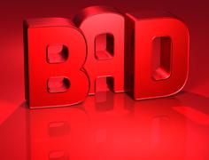 3d word bad on red background Stock Illustration