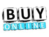 3d buy online button click here block text Stock Illustration