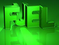 3d word fuel on green background Stock Illustration