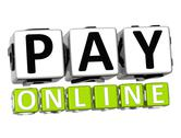 3d pay online button click here block text Stock Illustration