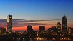 Timelapse of sunrise over Boston downtown Stock Footage