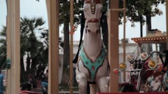 Close-up shot of a merry-go-round carousel upper - stock footage