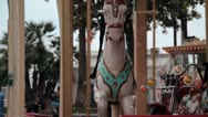 Stock Video Footage of Close-up shot of a merry-go-round carousel upper