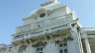 Pan of Haiti's presidential palace with collapsed dome Stock Footage