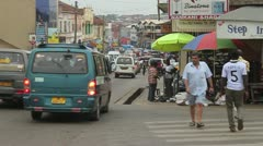 Afternoon traffic jam builds in Kumasi, Ghana Stock Footage