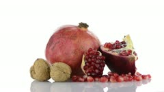 Ripe pomegranate fruit Stock Footage