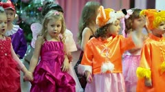 Singing songs from stage in Christmas carnival party Stock Footage