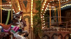 Stock Video Footage of Сhildren's carousel horse