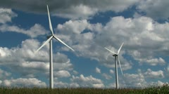 Wind turbines at field Stock Footage