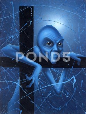 Stock Illustration of doubt of a blue gnome