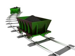 metallic trolley with coal - stock illustration