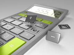 Calculator with broken buttons Stock Illustration