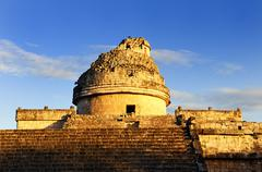 the observatory at chichen itza, - stock photo