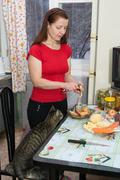 Stock Photo of the woman makes a dinner