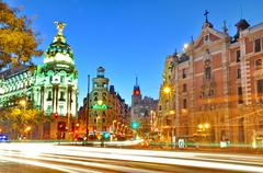 madrid,spain - september 30: gran via street on september 30, 2012 in madrid: - stock photo