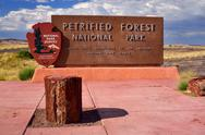 Petrified forest national park entrance Stock Photos