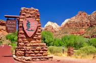 Zion national park sign Stock Photos