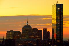 Dramatic sunrise over boston downtown Stock Photos