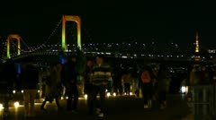Crowd on Tokyo Tower and Rainbow Bridge - Odaiba - HD Stock Footage