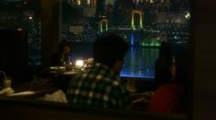 Tokyo - Rainbow Bridge in Restaurant Window - HD - No Sound Stock Footage