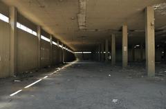Abandoned factory concrete interior Stock Photos