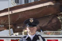 Law enforcement official at World Trade Center Memorial Stock Photos