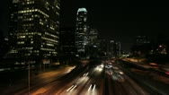 Stock Video Footage of LosAngeles-NightTrafficSunrise-29.97