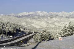 Highway in Snowy Mountains Stock Photos
