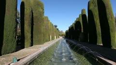 Alcazar gardens in Cordoba, Andalusia Spain Stock Footage