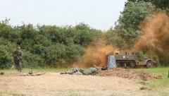 American troops defending against German soldiers on the battlefield Stock Footage
