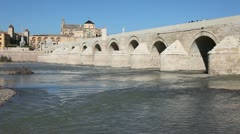Puente Romano - Roman bridge in Cordoba, Spain Stock Footage