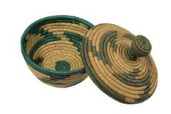 african basket with lid - stock photo