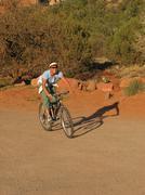 Woman mountain biker Stock Photos