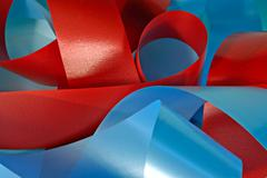 red and blue ribbons - stock photo