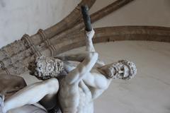 Rape of the sabine women statue detail Stock Photos